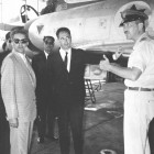 Peres (center) with Ezer Weizman and King Mahendra of Nepal in 1958