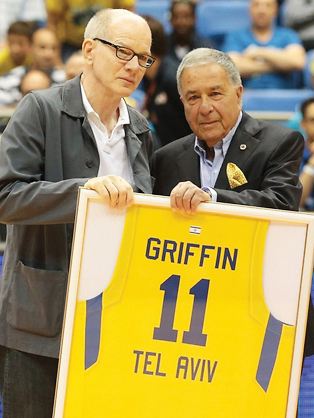 Bob Griffin, at left, is honored by Maccabi's president, Shimon Mizrachi.