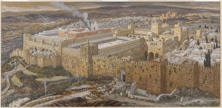 James Tissot: Reconstruction of Jerusalem and the Temple of Herod (Wikipedia / Brooklyn Museum)