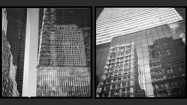 At left, 292 Madison Avenue is reflected in 300 Madison. At right, 1 World Trade Center, downtown.