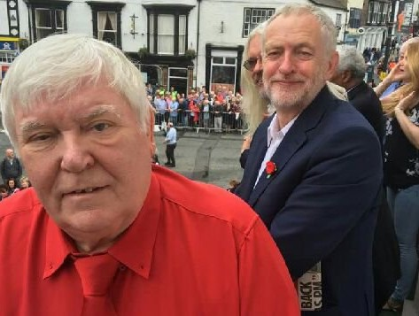 Tosh McDonald pictured with Jeremy Corbyn (Picture from his Twitter account)