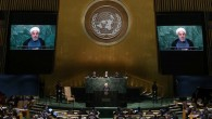 Hasan Rouhani speaking at the U.N. General Assembly on Thursday