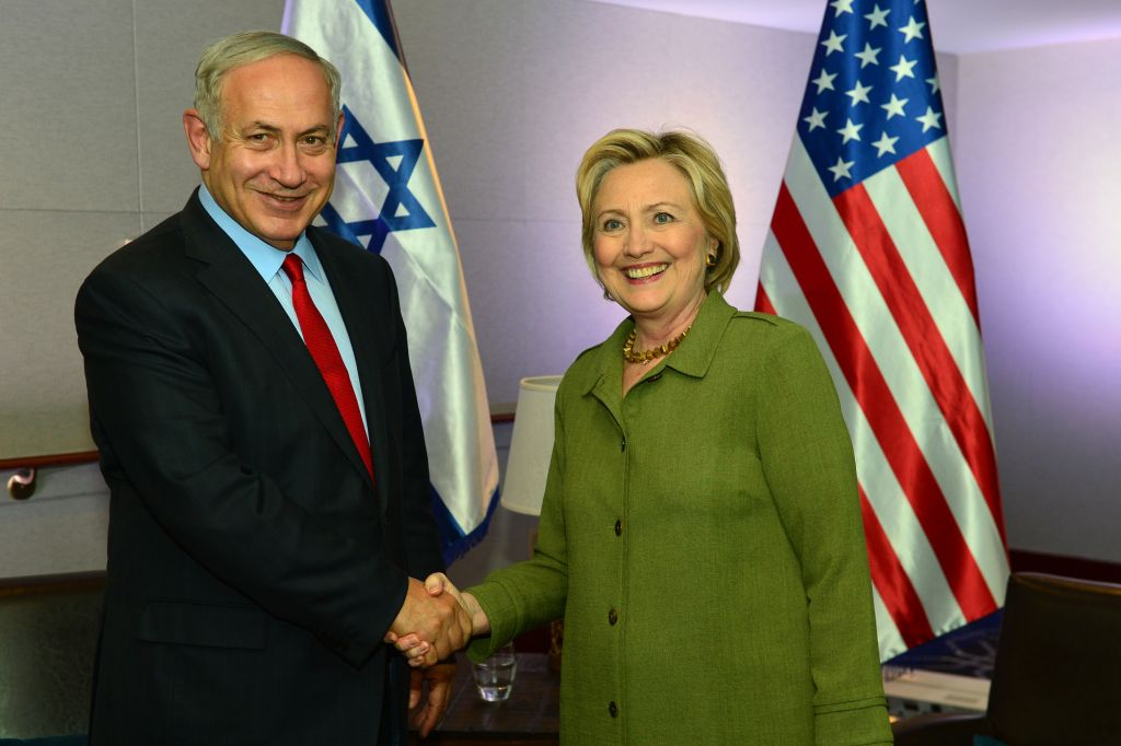 Prime Minister Benjamin Netanyahu meets with the Democratic Presidential candidate, Hillary Clinton, in New York, on September 25, 2016. Photo by Kobi Gideon/GPO via JINIPIX