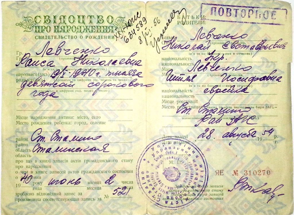 The birth certificate of Nikolay Liskov's grandmother, which says she is Jewish. (Courtesy)