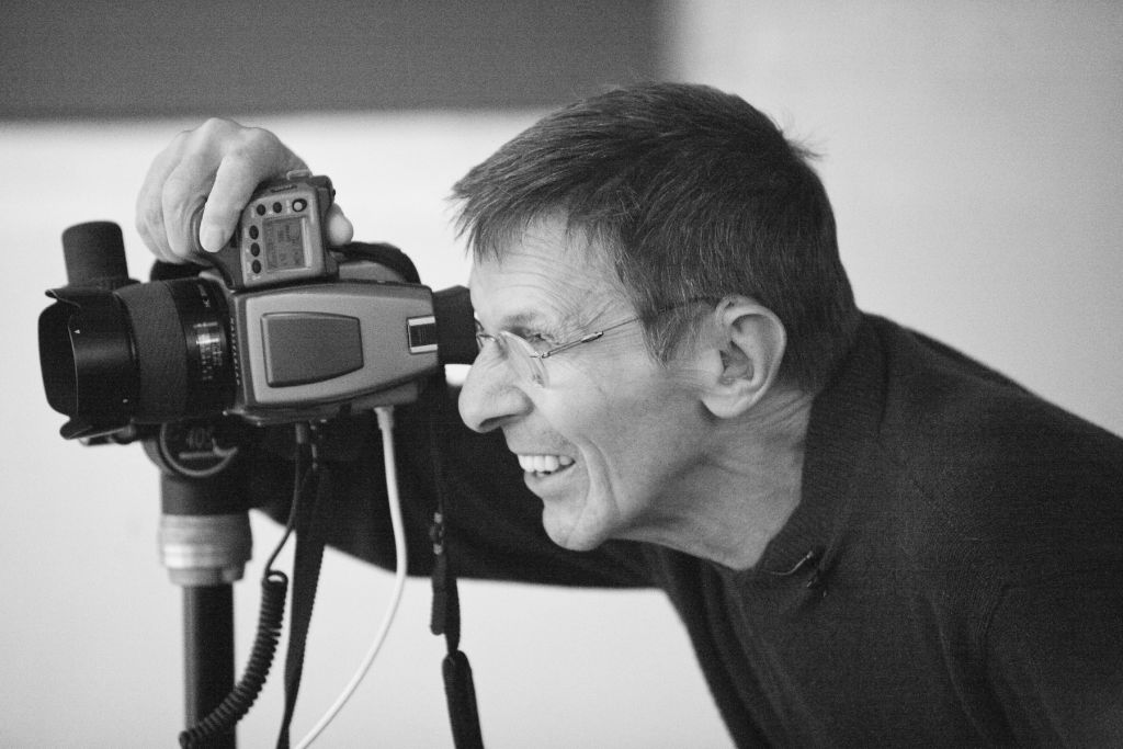 Portrait of Leonard Nimoy with one of his cameras. (Seth Kaye Photography)
