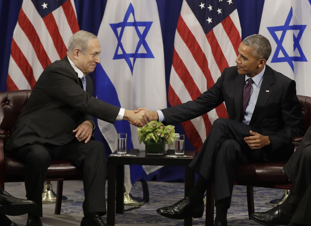 President Barack Obama shakes hands with Prime Minister Benjamin Netanyahu during a bilateral meeting at the Lotte New York Palace Hotel in New York, Wednesday, Sept. 21, 2016. (AP Photo/Carolyn Kaster)