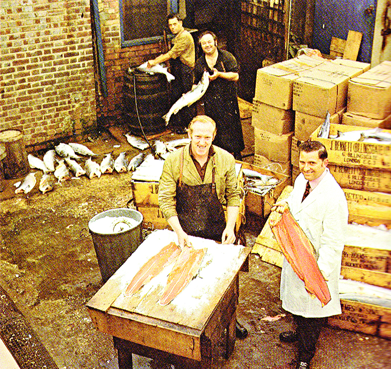 Marcel Forman (Lance's father) with salmon curers at the Ridley Road smokehouse in the 1960s