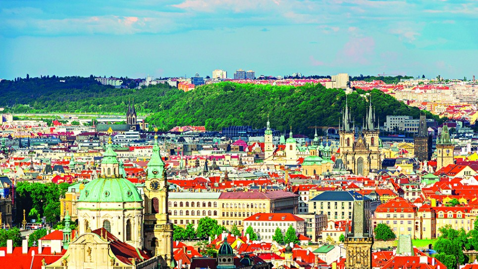 A stunning aerial view of Prague's red brick landscape as seen from the castle