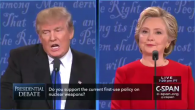 Trump and Clinton during the debate, answering questions on Iran (Screenshot from a video)