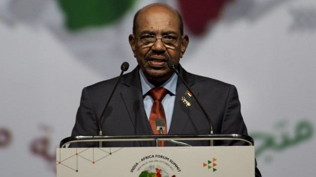 Sudanese President Omar al-Bashir speaks in New Delhi, India, October 29, 2015. (AP Photo/Bernat Armangue)