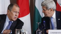 Russia's Foreign Minister Sergey Lavrov, left, and United States Secretary of State John Kerry talk during a meeting of the International Syria Support Group, Thursday, Sept. 22, 2016, in New York. (AP Photo/Jason DeCrow)