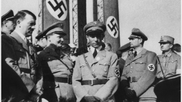 Adolf Hitler alongside senior Nazis Hermann Göring (Minister of Propaganda), Joseph Goebbels and Rudolf Hess