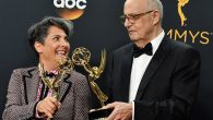 "Director Jill Soloway and actor Jeffrey Tambor, who both won Emmy Awards for the series ""Transparent,"". JTA"