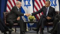 Prime Minister Benjamin Netanyahu of Israel shaking hands with President Barack Obama at a bilateral meeting in NYC. JTA