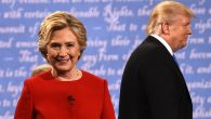Hillary Clinton & Donald Trump leave the stage after the first presidential debate at Hofstra Uni. in New York on Sep, 26. Getty