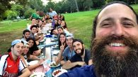 A former actor, Rabbi Korn hams it up with Chabad House Bowery's board during a summer retreat. Photos courtesy of Chabad.org