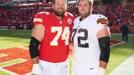 Geoff, left, and Mitch Schwartz are the first pair of Jewish brothers to play in the NFL since 1923. JTA