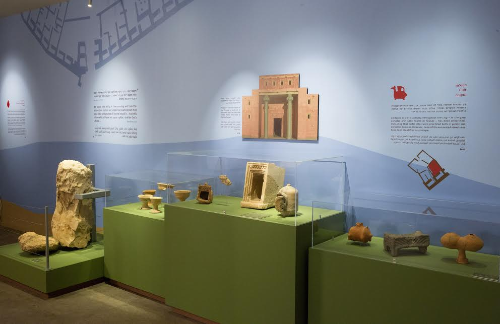 Model shrines and cultic objects from Khirbet Qeiyafa on display at The Bible Lands Museum. (Oded Antman/Bible Lands Museum)