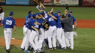 Team Israel celebrates after defeating Great Britain in the qualifying tournament championship game in Brooklyn, N.Y. JTA