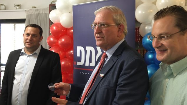 From left, Yossi Dagan, Mark Zell and Abe Katzman celebrating the opening of the Republicans Overseas Israel office. JTA