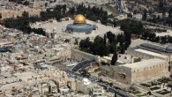 An aerial view of the Dome of the Rock (top center) and the Western Wall (center) in Jerusalem, October 02, 2007. (AFP/JACK GUEZ)