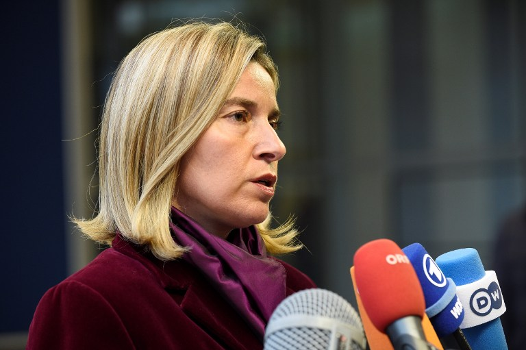 High Representative of the Union for Foreign Affairs and Security Policy Federica Mogherini talks to reporters during a Foreign Affairs meeting in Luxembourg on October 17, 2016. (AFP PHOTO/JOHN THYS)