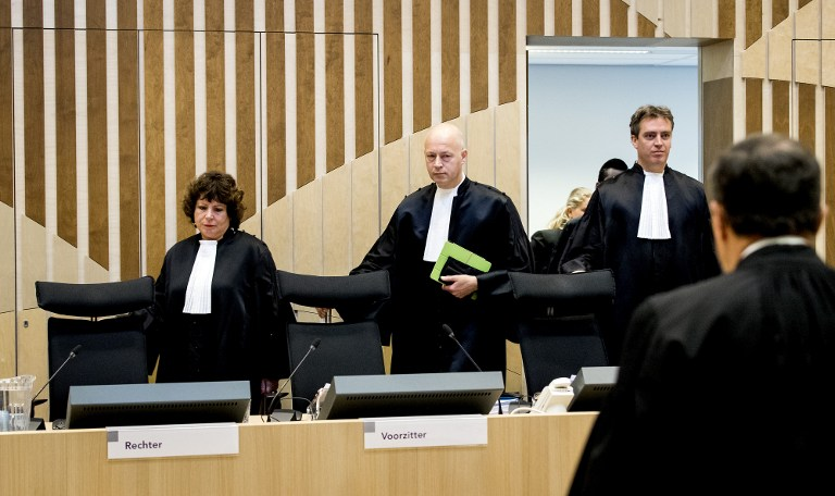 L to R: Judges arrive at a courthouse in Schiphol on October 31, 2016, for the start of the trial of Dutch anti-Islam MP Geert Wilders on charges of insulting a racial group and inciting racial hatred. (AFP PHOTO/ANP/Koen van Weel)