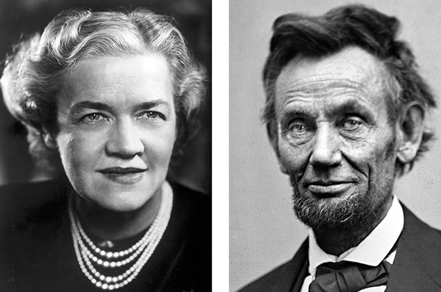 Margaret Chase Smith, left, and Abraham Lincoln
