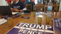 The scene at a Trump campaign office in Israel. Joshua Mitnick/JW