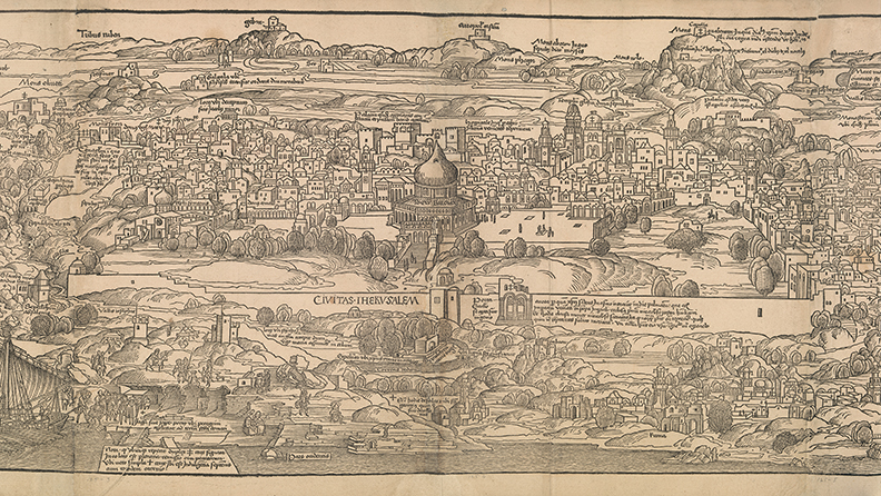 """Detail from """"View of Jerusalem"""" from """"Journey to the Holy Land,"""" Mainz, 1486, written by Bernhard von Breydenbach, designed by Erhard Reuwich, published by Peter Schoffer the Elder. The Metropolitan Museum of Art."""