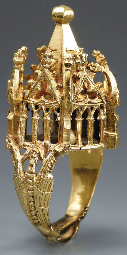This Jewish wedding ring was made in Germany during the first half of the 14th century. To be used during the marriage ceremony, it shows an idealized version of the Temple in Jerusalem. Thüringisches Landesamt für Denkmalpflege und Archäologie, Weimar, Germany. Photograph by B. Stefan.