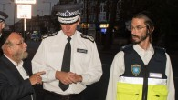 Shomrim members on a recent patrol with the Met Police Commissioner Sir Bernard Hogan-Howe in Stamford Hill.