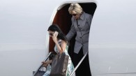 Democratic presidential nominee Hillary Clinton and aide Huma Abedin, lower left, step from Clinton's campaign plane as they arrive at Van Nuys Airport in Van Nuys, Calif., Monday, Aug. 22, 2016. (Carolyn Kaster/AP)