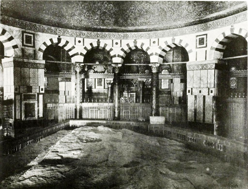Interior of the Dome of the Rock, 1910. (public domain: Robert Smythe Hichens; American Colony)