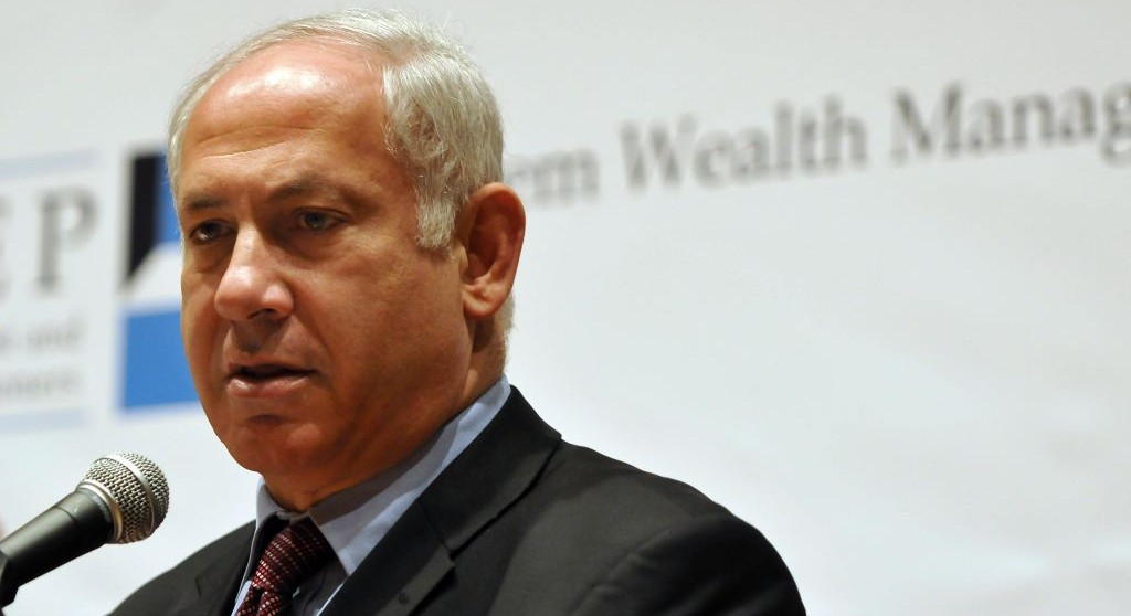 Prime Minister Benjamin Netanyahu speaks at a financial conference in Jerusalem (Ouria Tadmor/ FLASH90)