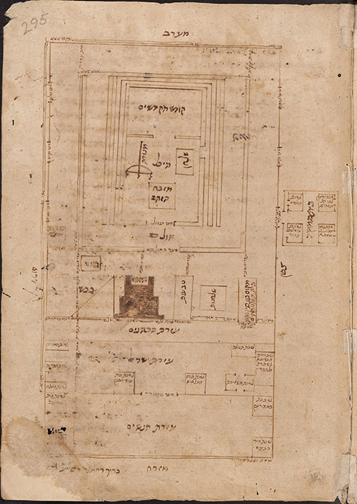 Plan of the Temple, Fustat, Egypt, after 1167/68. From Maimonides' Commentary on the Mishnah, Bodleian Libraries, University of Oxford.