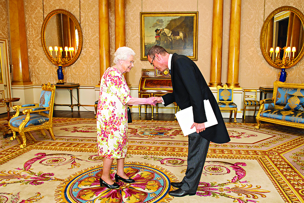 Ambassador of Israel Mark Regev meets Queen Elizabeth II during a private audience at Buckingham Palace, London.
