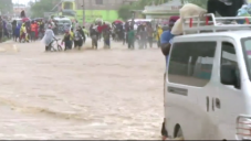 The scene of devastation following the disaster (Screenshot from BBC video)