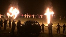 An image of the KKK burning a swastika and a cross, provided by Hope Not Hate