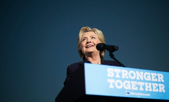 Democratic presidential nominee Hillary Clinton speaks at Ohio State University on October 10, 2016 in Columbus, Ohio. Getty
