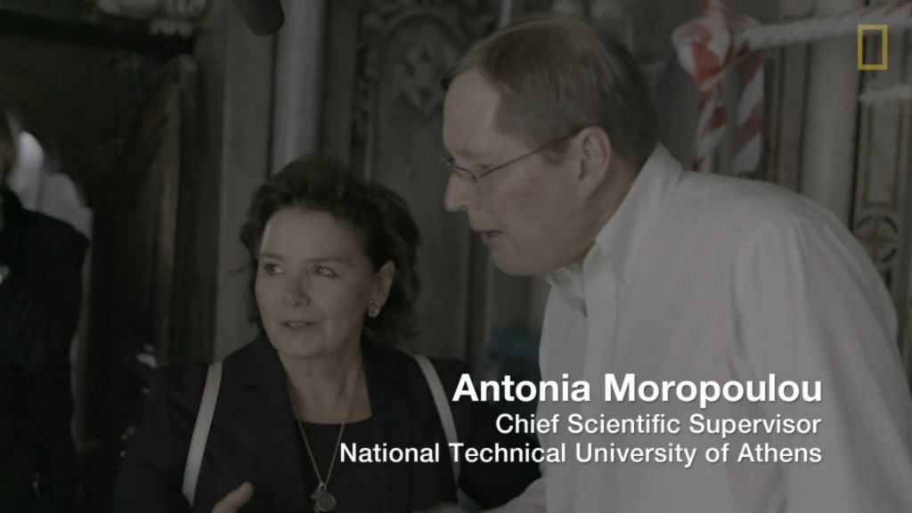 Antonia Moropoulou, of the National Technical University of Athens, and Fredrik Hiebert, National Geographic's archaeologist-in-residence, filmed at the tomb of Jesus, Church of the Holy Sepulchre, October 2016 (National Geographic screenshot)