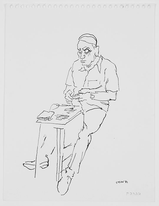 "The line drawing and character study, from 1993, is called ""Avraham."""