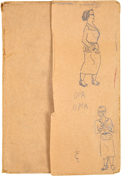 This drawing, done on a brown-paper book cover, is from Miriam Stern's childhood.