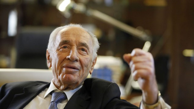 Shimon Peres speaking during an interview in the president's residence in Jerusalem, April 10, 2013. (Lior Mizrahi/Getty Images/JTA)