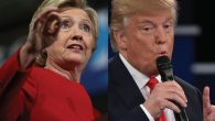 Hillary Clinton and Donald Trump: In the homestretch of a bitterly fought race. Photos by Getty Images