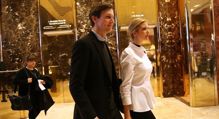 Jared Kushner, the son-in-law of President-elect Donald Trump, walks through the lobby of Trump Tower with his wife Ivanka on November 18, 2016 in New York City. (Spencer Platt/Getty Images/AFP)