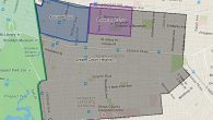 The greater Crown Heights eruv, shown in gray, covers six times the area of  the previous eruvim, outlines in blue and purple.