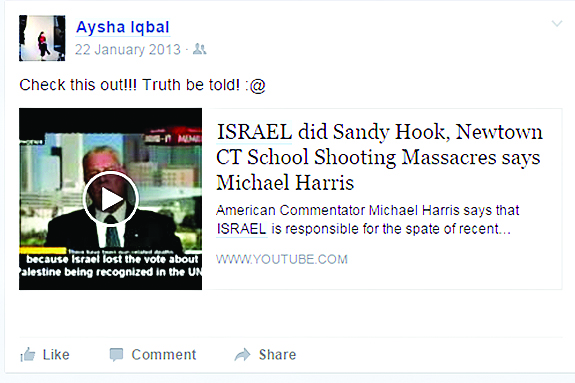 "The post claiming ""Israel did Sandy Hook"""