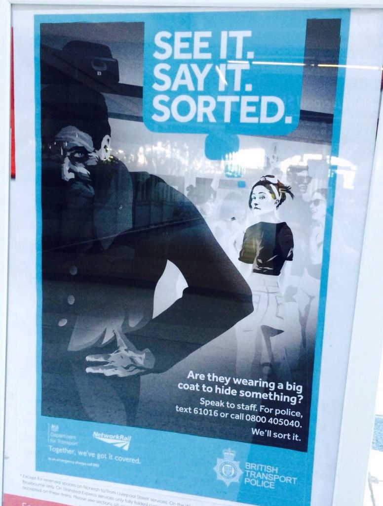 The poster used by the British Transport Police, which some have likened to Nazi propaganda