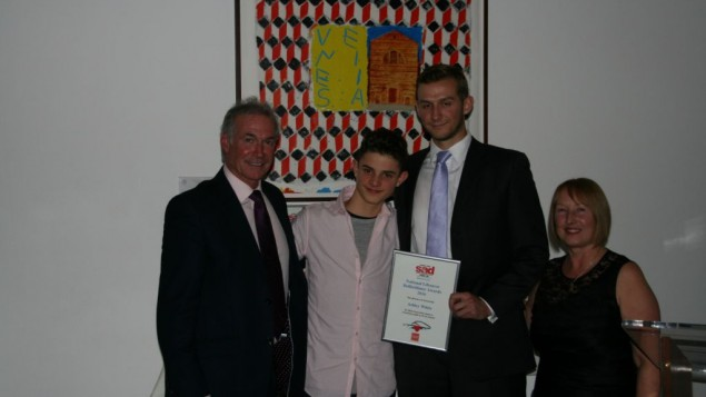 From left to right is SADS UK Patron Dr Hilary Jones, JCoss School pupil Noah Baron-Cohen, Ashley White PE Teacher and Anne Jolly, Founder of the cardiac charity SADS UK.